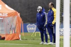 Russo y Somoza observando el entrenamiento de esta mañana.