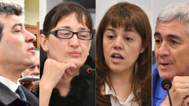 El fiscal  Osvaldo Heiber, las juezas Ivana González y Mirta del Valle Moreno y el juez Gustavo Castro.