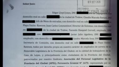 La nota elevada a Ricardo Sastre por los empleados legislativos.