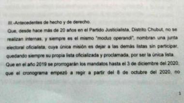 """""""Modus operandi"""". Según la presentación, la cúpula peronista deja afuera a todas las otras listas."""