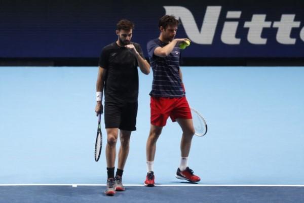 El marplatense no logró ser el 1° argentino en llegar a la final del Torneo de Maestros en dobles.