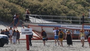 Larga fila de turistas para abordar la lancha que los llevará a ver las ballenas. Una clásica postal de Puerto Pirámides, que retoma su actividad turística después de tanto tiempo.