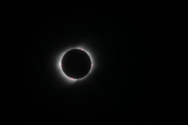 Momento culminante. La Luna cubre la casi totalidad de Febo. La corona solar sigue brillando por sobre los bordes. (Fotos: Daniel Feldman, desde Las Grutas).
