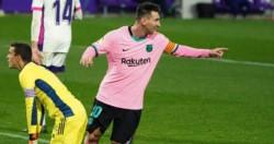 Leo Messi definió con potencia de zurda, anotó el 3-0 del Barcelona contra Valladolid.