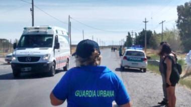 Personal de la Guardia Urbana de la comuna trelewense trabajaron en el lugar junto a los Bomberos.
