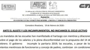 El comunicado de la ATECh Sur con el mandato de no iniciar las clases.