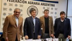 Los titulares de CRA, Coninagro, Federación Agraria y la Sociedad Rural -Dardo Chiesa, Carlos Iannizzotto, Carlos Achetoni y Daniel Pelegrina-.