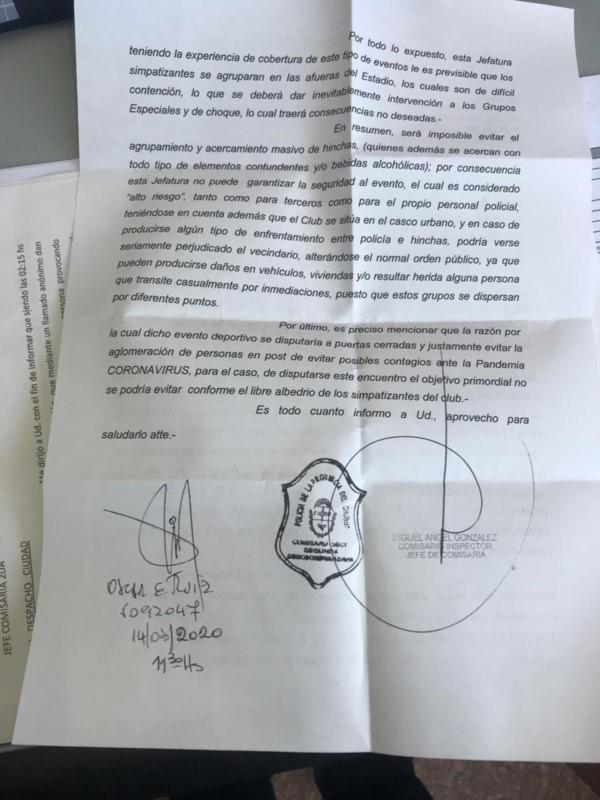 La nota explicativa de la Policía provincial sobre la imposibilidad de garantizar la seguridad.