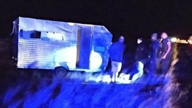 Accidente.  La camioneta sufrió importantes daños materiales.