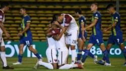Rafael Delgado, Wilson Morelo y Chancalay convirtieron los goles del Sabalero.