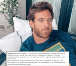 Tras realizar la rehabilitación en Miami, Del Potro regresó a la Argentina, está cumpliendo con la cuarentena y dejó este mensaje en sus redes sociales.