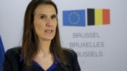 La primera ministra belga, Sophie Wilmès, durante el último Consejo Europeo