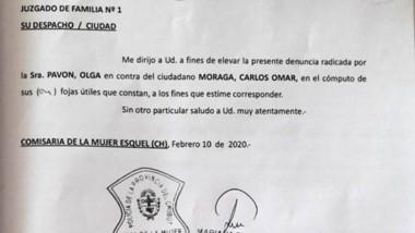 Documento. Primera página de la denuncia contra el jerárquico.