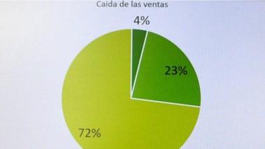 Gráfico del informe de la AC y A de Esquel sobre la caída de ventas.