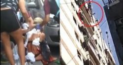 La víctima salió corriendo del inmueble situado en el barrio porteño, completamente ensangrentada y en ropa interior. El agresor intentó arrojarse desde un balcón. (Foto: Crónica).
