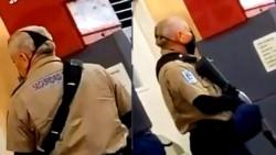 Un policía de México decidió protegerse colocando una tanga sobre su rostro.