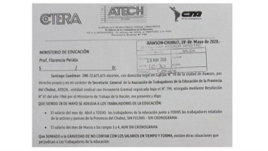 La nota de ATECh que ingresó ayer al Ministerio de Educación.