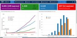 Así lucen los gráficos de seguimiento de casos. Para acceder, hay que ingresar a www.cenpat-conicet.gov.ar y dirigirse a la pestaña Coronavirus.