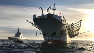 """El potero chino """"Hong Pu 16"""" fue capturado en aguas argentinas y a la altura de la ciudad de Puerto Madryn."""