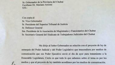 La nota pidiendo respuestas que Miquelarena le envió a Arcioni.