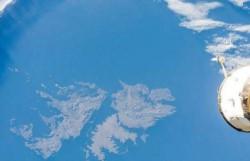 El archipiélago argentino fotografiado desde la Estación Espacial Internacional.