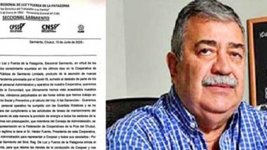 Documento firmado por la Seccional Sarmiento del Sindicato Regional de Luz y Fuerza apoyando a González.