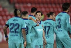 Vidal, Braithwaite, Alba y Messi, marcaron los tantos del puntero de la Liga española.
