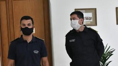 Dúo. Gómez (izquierda) y Gómez Ocampo ayer en Casa de Gobierno.