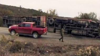 El camión volcado con su conductor con fracturas múltiples. Fue auxiliado por los Bomberos rionegrinos.