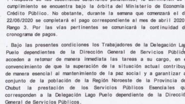 El acta donde se explicita el compromiso del Gobierno provincial.
