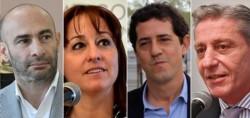 """Protagonistas. Desde la izquierda, el ministro Massoni, Noelia Corvalán, presidente del HCD Madryn, """"Wado"""" De Pedro y el gobernador Arcioni."""