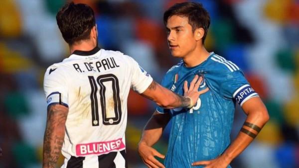 """El equipo de Rodrigo De Paul frenó la intención de la """"Juve"""" de Dybala por coronarse en Friuli."""