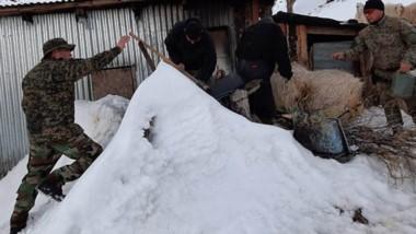 Leña y forraje. Los policias asistieron a los ancianos y a sus animales en medio de la nevada.