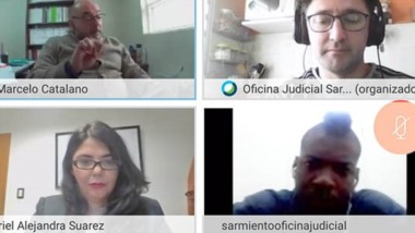 Virtual. Una postal de las partes debatiendo el futuro procesal de Cárdenas Urbano tras su imputación.