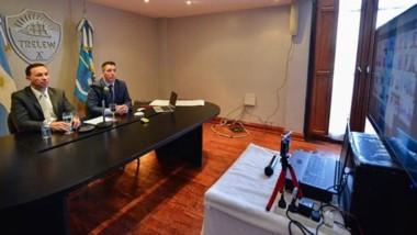 El intendente de Trelew en videoconferencia con Alberto Fernández.