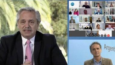 El presidente en videoconferencia con los intendentes patagónicos.