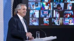 Alberto Fernández participó por videoconferencia de la inauguración de un nuevo puerto en Timbúes, Santa Fe.