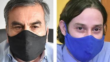 Barbijos. VIllarroel (izquierda) y Aguilar explicaron la iniciativa.
