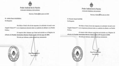 Siguen adentro. El juez Sastre notificó a Maderna y a los mellizos Sastre que siguen incluidos en la lista de afiliados al Partido Justicialista.