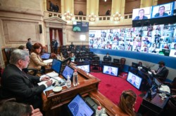 Con la oposición ausente, el oficialismo anuló en el Senado los traslados de los camaristas Bruglia y Bertuzzi.