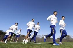 Miguel Ángel Russo estuvo al frente del entrenamiento de Boca.