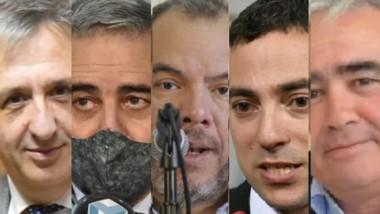 La comitiva de funcionarios provinciales que estuvo realizando gestiones ayer en Capital Federal.