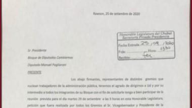 La nota firmada por los gremios estatales y elevada a los diputados.