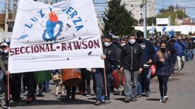 La manifestación por parte de los trabajadores ayer en la capital.