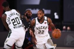 Los Milwaukee Bucks sobreviven sin Giannis Antetokounmpo. Victoria por 118-115 frente a Miami Heat.