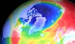 Concentración de ozono en la Antártida el 14 de septiembre de 2020 que muestra el agujero en la capa.