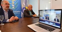 El ministro de Salud y el vicegobernador, durante la videoconferencia con Alberto Fernández.