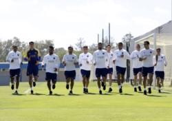 Los 11 titulares ante Santos en el entrenamiento matutino.