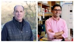 David Julius -con campera- y Ardem Patapoutian, develaron cómo se convierte el registro de la temperatura en impulsos eléctricos en el cerebro.