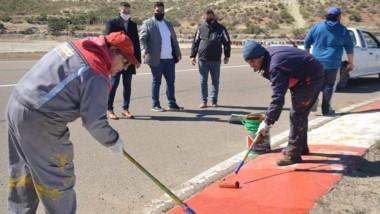 Funcionarios municipales recorrieron el autódromo trelewense.